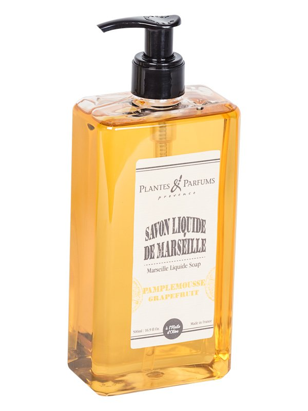 plantes parfums savon liquide de marseille pamplemousse 500ml savons de marseille liquide. Black Bedroom Furniture Sets. Home Design Ideas